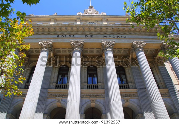 Bolsa de Madrid stock market in Spain facade with stone columns