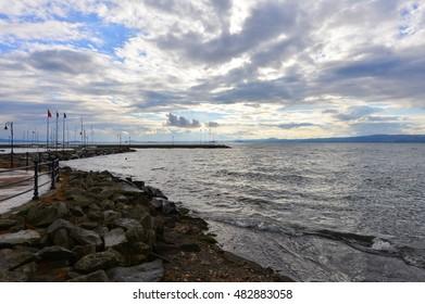 Bolsena lake - The lake front and the port of Bolsena medieval town