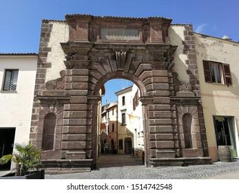 Bolsena, Lazio, Italy - 10 September 2019: Porta San Francesco, one of the access gates to the historic center