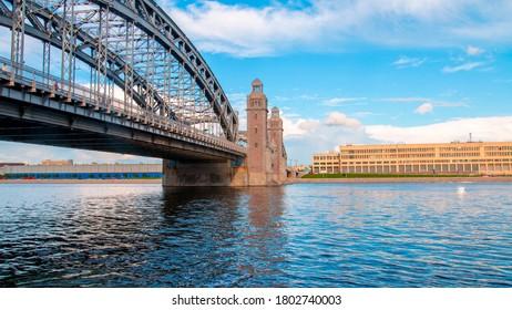 Bolsheokhtinsky or Peter the Great bridge across Neva River. St. Petersburg, Russia.