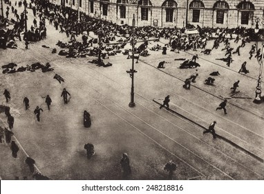 Bolshevik protest scattered by machine guns. Nevsky Prospect, Petrograd. July 4,1917. Street demonstrators were fired on by troops of the Provisional Government from the roof of the Public Library.