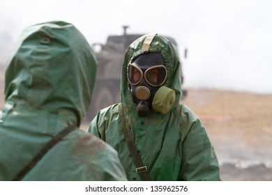 BOLSOI KAMEN, RUSSIA, - APRIL 3: Military exercises on emergency response in case of accidents at radiation-hazardous objects, Bolsoi Kamen, Russia, April 3, 2013. The contaminated area.