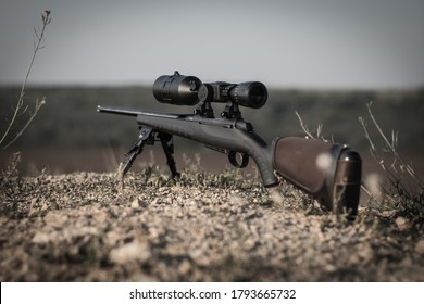bolt action rifle with night vision optics, thermal imager, ballistic calculator, soft focus, backlight, entourage