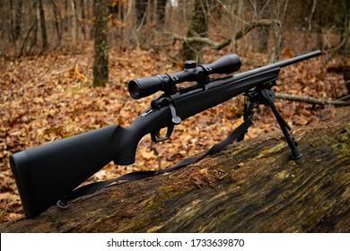 Bolt action rifle on a log