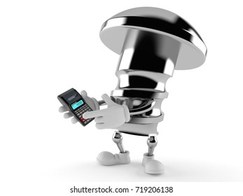 Bolt character using calculator isolated on white background. 3d illustration