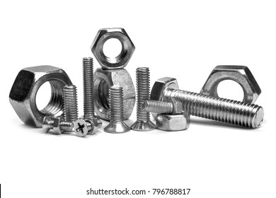 bolt and nut isolated on white background. 3d render