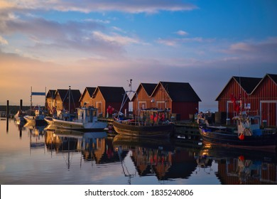 Boltenhagen Harbour Germany sunrise fishingboats