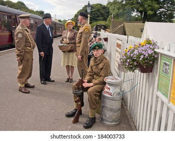 Bolton Abbey, Yorkshire, UK, 14th September 2013, 1940's re-enactment Weekend, Army personnel waiting on the train platform.