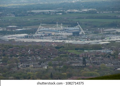 Bolton, Lancashire - May 1st 2018: View Of Macron Stadium From Summit Of Rivington Pike