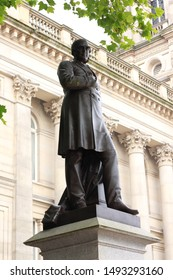 Bolton, Manchester, England: Aug 2019 - Statue of  Samuel Taylor Chadwick (1809 – 3 May 1876)  English doctor and philanthropist, outside Bolton Town Hall