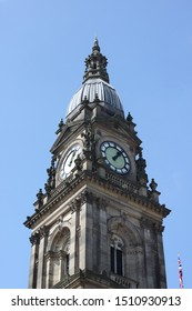 Bolton, Manchester, England: Aug 2019 - Bolton Town Hall Building Exterior Clock