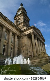 Bolton Town Hall in the English sunlight.