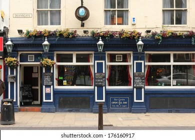BOLTON, UK - APRIL 23, 2013: Exterior view of Blue Boar pub in Bolton. As of 2011 there were more than 50 thousand pubs in the UK. Pubs are a fundamental element of UK culture.