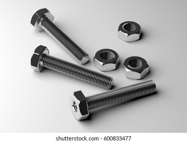 Bolts and nuts (3D rendering)