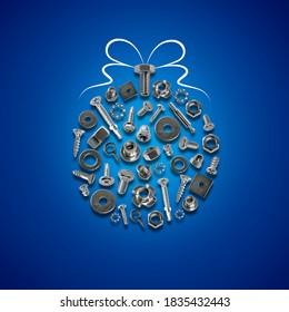 bolts, nuts, nails, screws, tools christmas ball blue