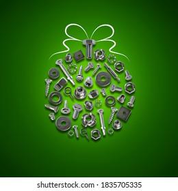 bolts, nuts, nails, screws, tools christmas ball green