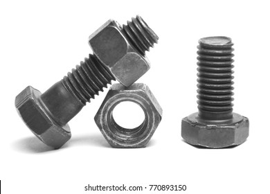bolts and nuts on white