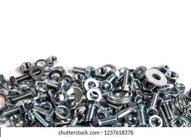 bolts and nuts on a white background