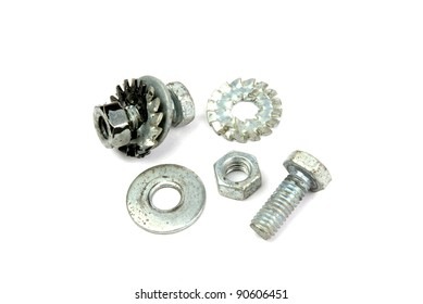 Bolts, nuts and washers on a white background