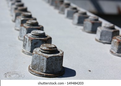 Bolts on a Bridge -Weathered bolts on a steel beam, part of a bridge in Welland, Ontario, Canada