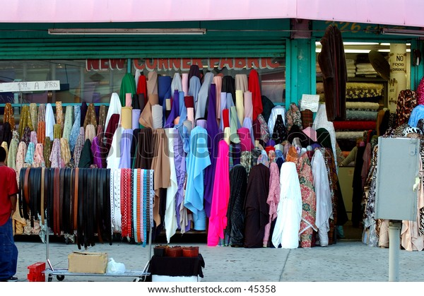 Bolts of textiles in the Los Angeles Fashion District
