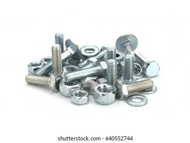 Bolts and washers over white background