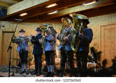 Bolzano / Bozen, South Tyrol, Italy, December 13, 2014: Brass band playing at the Christmas market