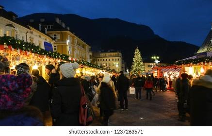 Bolzano / Bozen, South Tyrol, Italy, December 13, 2014: Christmas market