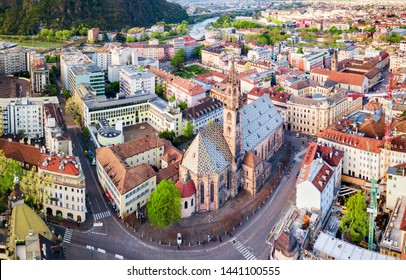 Bolzano Cathedral or Duomo di Bolzano aerial panoramic view, located in Bolzano city in South Tyrol, Italy
