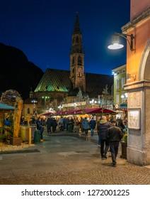 Bolzano Christmas market in the evening. Trentino Alto Adige, Italy. December-12-2018