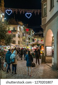 Bolzano in the evening during Christmas time. Trentino Alto Adige, Italy. December-12-2018