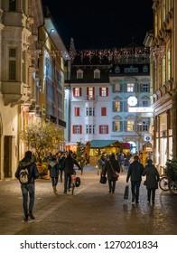 Bolzano in the evening during Christmas time. Trentino Alto Adige, Italy. December-12-2018