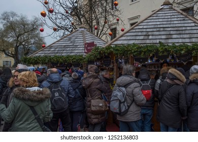 Bolzano, Italy. 2nd December, 2018. View of the Bressanone Christmas markets with the people watching in Bressanone