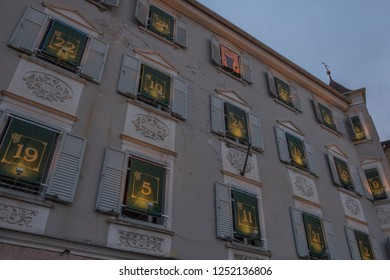 Bolzano, Italy. 2nd December, 2018. View of the illuminated building of the advent calendar in Bressanone