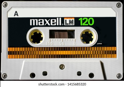 Bolzano, Italy, 4/6/19: A Maxell LN (Low Noise) cassette,  120 minutes duration, position normal, purchased in 1981.  Side A is shown, rewound to the beginning. Small specks of dust here and there.
