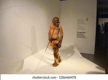 BOLZANO, ITALY - APRIL 27, 2016: Reproduction of Oetzi the Similaun Man in the South Tyrol Museum of Archaeology in Bolzano, South Tyrol, Italy