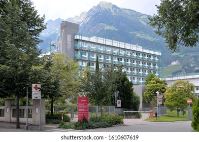 Bolzano, Italy -August 12, 2011: View of the exterior facade of the new hospital in the urban center of the city of Merano