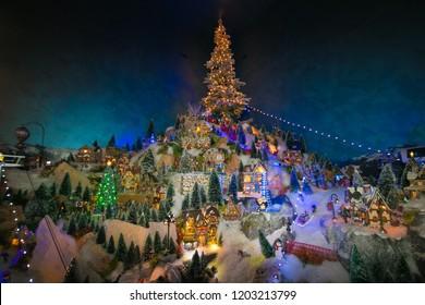 BOLZANO, ITALY - DECEMBER 8, 2017: Fantastic miniature village at christmas market of Bolzano in Trentino Alto-Adige, Italy