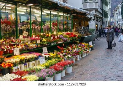 Bolzano, Italy - March 11, 2016: Steet small flower shop at Bozen-Bolzano
