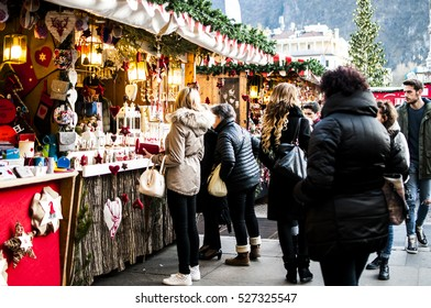BOLZANO, ITALY - NOVEMBER 27, 2016: the traditional annual Christmas Market debuts in the famous Walther Square in Bolzano, South Tyrol.