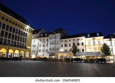 Bolzano, Italy - Oct 13, 2016: Historic city centre at night on Oct 13, 2016 in Bolzano, Italy.
