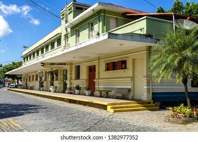 Bom Jardim, Rio de Janeiro, Brasil - April 20, 2019: The old Train Station of Bom Jardim, that was opened 1875, and had the building reconstructed in 1935. The Station was deactivated around 1965.