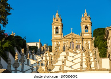 Bom Jesus do Monte Monastery in Braga in a beautiful summer day, Portugal