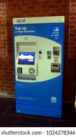 Bomaderry, NSW, Australia, 8 Feb 2018.  Technology on Bomaderry Railway Station, part of the Sydney Trains network. Opal ticket buy or top-up machine for cash or cards.