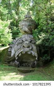 """Bomarzo (VT), Italy - May 15, 2016: The """"Sacro Bosco"""" park and garden in Bomarzo, Viterbo, Lazio, Italy"""