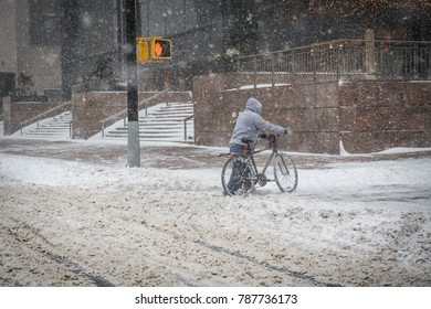 The bomb cyclone snow storm appears to be is too much for this cyclist on January 4 2018 in lower Manhattan.