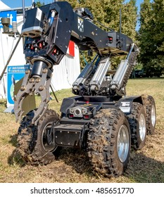 bomb disposal cobot robot unit used by the Army to  defuse bombs - Ferrara, Italy 16 September 2016