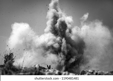 Bomb explosion. View from the trench.