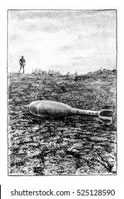 Bomb shell on the ground. Bomb shell on the cracked ground, a man silhouette on the background. Charcoal crayon illustration.