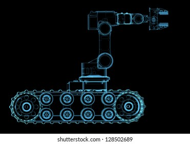 Bomb squad robot (3D x-ray blue transparent isolated on black)